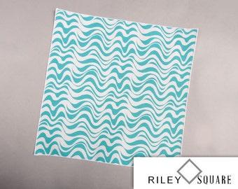 Aqua and White Wavy Line Pocket Square//Wedding Handkerchief/Fashion Accessories