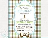 Custom Little Man Bow Tie Birthday Invitation | Printable