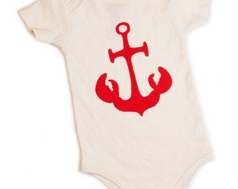 Anchor & Lobster Onesie 6 to 12 Month - 'Anchor Claws'™ Infant Onesie