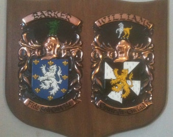 Anniversary Double Coat of Arms Plaque Made To Order