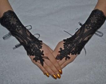 Handmade smoked smoked Unique Wedding Gloves gray Lace GlovesFingerless han