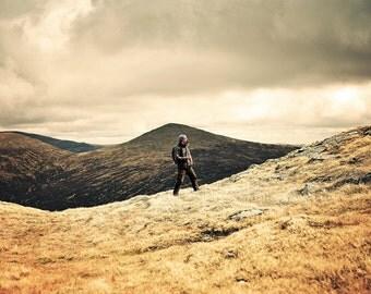 Bagging The Munro, original fine art photography, print, landscape, highland, nature, 8x12,  mountain, yellow, scotland, man, hike, cloud
