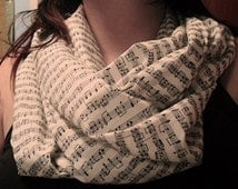 Sheet Music Infinity Scarf - Custom Black and White Looped Scarf - Music Themed Infinity Scarf - Comfy Looped Music Note Scarf