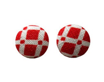 Red and white checked fabric stud earrings