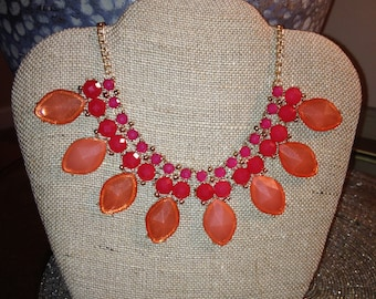 Coral J-Crew Inspired Statement Necklace FREE SHIPPING!
