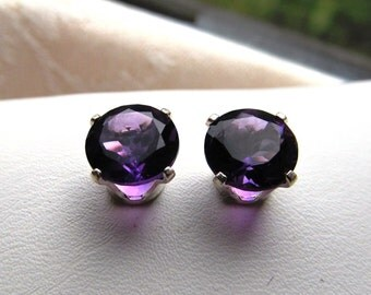 African Amethyst 7mm Rounds 2.34 ctw in Sterling Silver Post Earrings