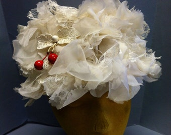 Cream Lace & Flowers, Vintage 1950's Toque Hat w CELLULOID Lace CHERRY Pin