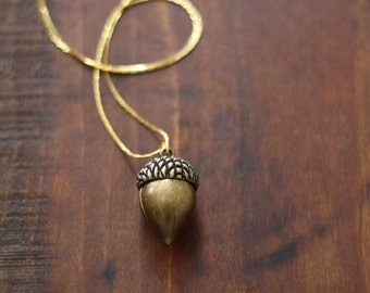 Vintage Brass Acorn Charm Necklace