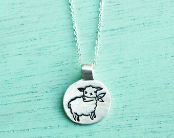 LAMB Necklace lamb jewelry sheep necklace sheep jewelry by boygirlparty - gift for her miniature animal necklace handmade jewelry