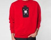 Poison Bottle Pullover Sweatshirt - Mens Hand Stenciled Crew Neck Graphic Raglan Fleece Sweatshirt in Red - XS S M L XL 2XL
