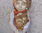 Mabon Moon,  Figurative Sculpture,Mix Media Assemblage, OOAK Bohemian Art Dolls