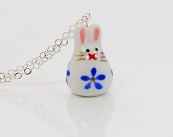 White Rabbit Pendant Necklace Little Blue Bunny - Rabbit Necklace - Bunny Pendant - Bunny Rabbit Inspired