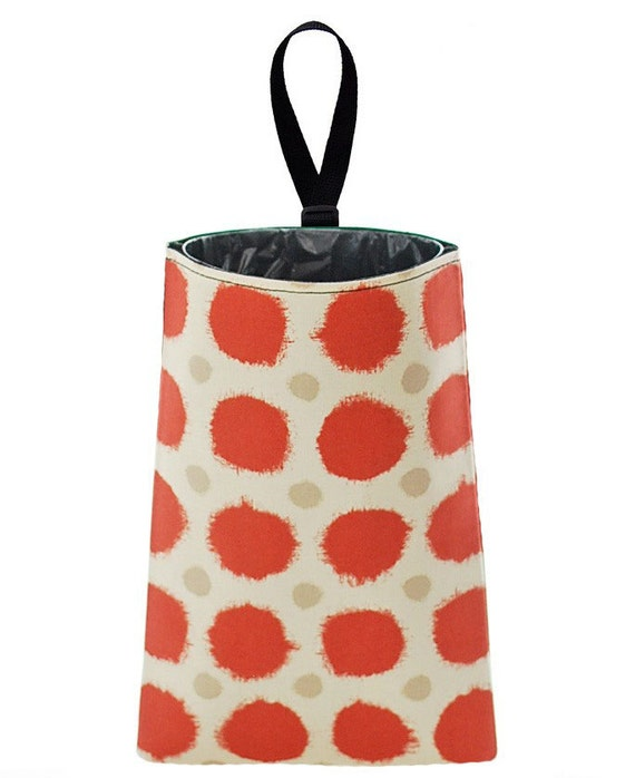 Auto Trash // Car Accessory // Car Trash Bag // Litter Bag - Fuzzy Dots (red)