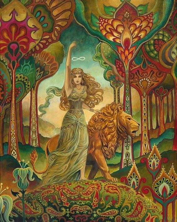 Strength Original Painting Psychedelic Tarot Goddess Art