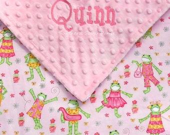 Personalized Baby Girl Blanket , Embroidered Baby Blanket ,  Minky Dot and Fashion Frogs - LIMITED but still available