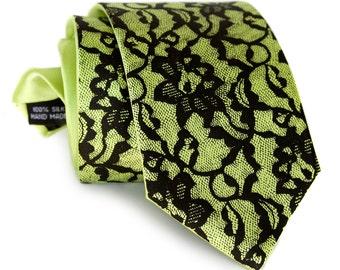 "Chartreuse and black lace necktie. 100% silk. ""Boudoir Lace"" print silkscreen men's tie, black print. Choose standard or narrow."