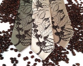 Coffee necktie. Men's tie, silkscreened coffee tree botanical print, espresso brown. Your choice of microfiber tie colors and width.