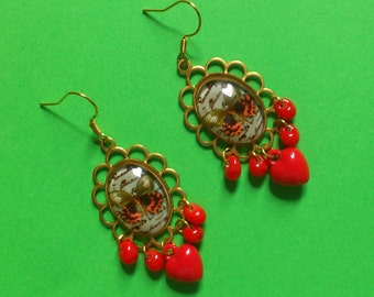Red Butterfly Chandelier Earrings - dangly, vintage style, old fashioned, cottage granny chic - moths, insects, red hearts, brass settings