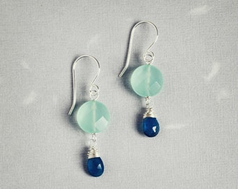 Neon blue apatite aqua faceted coins sterling silver wire wrapped earrings - Atoll