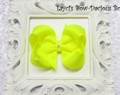 Custom ANSI YELLOW Hair Bow, small, medium, large, extra large, Choose your Style, boutique, pinwheel, tails down, classic