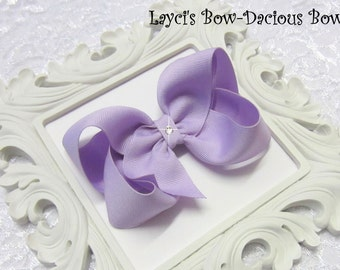 LAVENDER Boutique Hair Bow, you choose size, toddler bow - lavender bow - light purple bow - purple - birthday - flower girl - spring bo