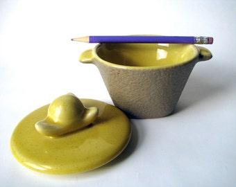 Vintage - Lidded Bowl - Mid Century - Yellow - Ceramic - Dish