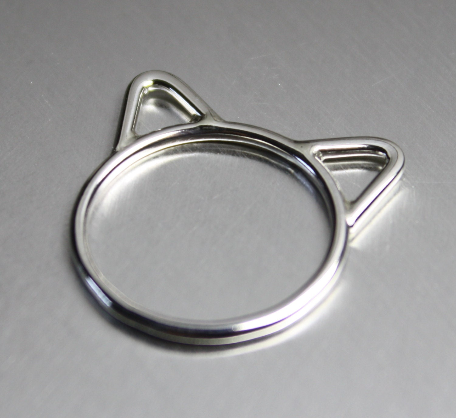 sterling silver cat ring with ears