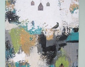 Bird Art , Abstract Painting , Acrylic Painting , Mixed Media Collage Painting , Whimsical Painting Original