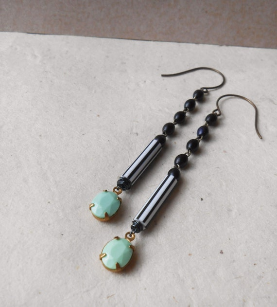 reduced - mint green black and white striped earrings handmade from vintage repurposed jewelry soft grunge summer spring