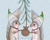 "Christmas squirrel holiday art print, ""Merry Little Squirrels"""