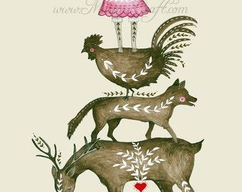 "Folk animals art print, ""Folkling Quartet"""