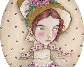 "Victorian art print, ""Adelaide's New Bonnet"""