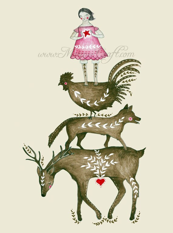 "Folk animals art print, ""Folkling Quartet"""