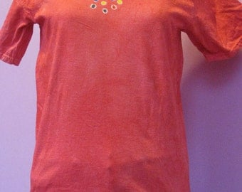 Hand-dyed crew-neck T-shirt, size small