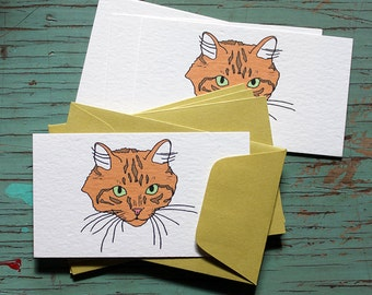 Orange Cat Enclosure Cards with Envelopes-Set of 5