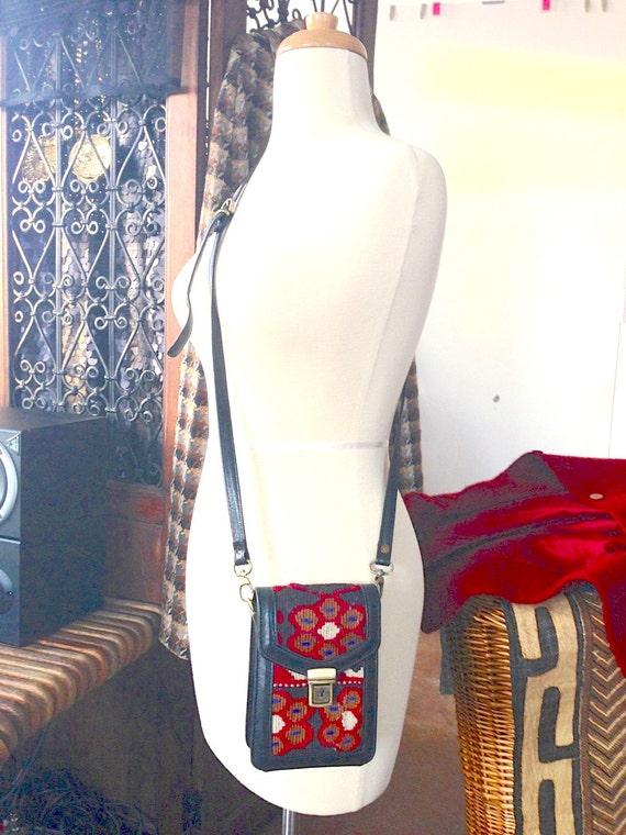 Vintage Leather Kilim Crossbody Purse - Camera Bag - black and red native southwestern woven bag - Aztec bag