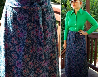 Le FLEUR 1960's Vintage Dark Blue & Purple Long Maxi Skirt with Sash Belt size Small // by Sears