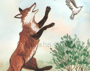 Original Art - Three of Foxes - Watercolor Fox Painting -The Badgers Forest Tarot