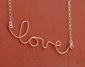 SALE 15% off Love You Valentines Day Copper and Silver Script Necklace