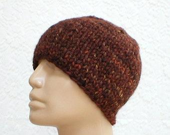 Beanie hat, skull cap, brown rust camel tweed, winter hat, tweed hat, brown hat, ski snowboard, skateboard, knit toque, mens womens hat