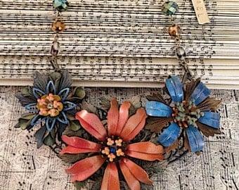Vintage Enamel Flower Necklace - Statement Necklace - OOAK Necklace
