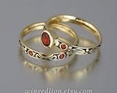 AUGUSTA 14K gold Red Garnet engagement ring & band wedding set