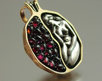 POMEGRANATE silver and bronze garnet pendant - Ready to ship