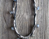 Intertwined Leather Choker with Silver and Flashy Labradorite