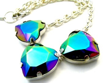 Oil Slick Heart Crystal Necklace - Rainbow Coated Rhinestone Pendant Necklace w/ Chunky Yellow Gold Chain