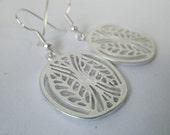 Matte Silver Cutout Leaf Dangle Earrings