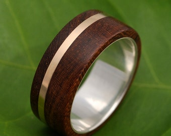 mens wood wedding band solsticio oro nacascolo wood wedding ring ecofriendly recycled 14k - Wood Wedding Ring