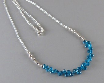 Apatite Chain Necklace Sterling Silver Tiny Briolette DJStrang Neon Blue Fine Silver Bead Boho Cottage Chic