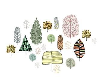 Tree Gathering art print - large print - 14 x 11