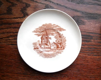 Antique Copeland Sons Windmill Saucer, 1880's Brown Transfer Plate, Stoke Upon Trent